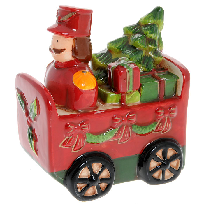 Новогодняя декоративная фигурка Вагончик с подарками. 25703IRK-503Новогодняя декоративная фигурка Вагончик с подарками, изготовленная из керамики, украсит интерьер вашего дома или офиса в преддверии Нового года. Красный вагончик, украшенный рождественскими гирляндами, наполнен подарками и игрушками. Оригинальный дизайн и красочное исполнение создадут праздничное настроение. Новогодние украшения всегда несут в себе волшебство и красоту праздника. Создайте в своем доме атмосферу тепла, веселья и радости, украшая его всей семьей. Характеристики:Материал:керамика. Размер фигурки:10 см х 7 см х 11,5 см. Размер упаковки:10,5 см х 8 см х 12,5 см. Артикул:25703.