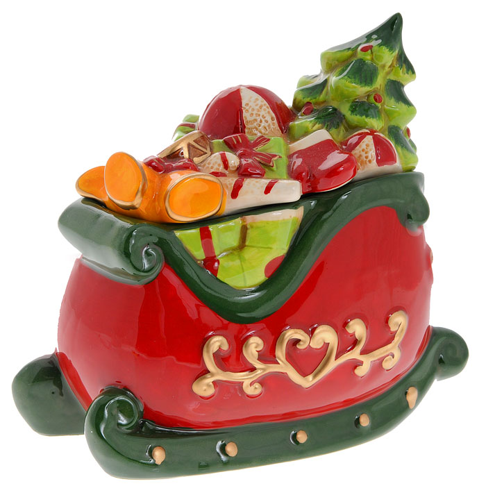 Новогодняя декоративная шкатулка Сани с подарками. Ф21-208215469Декоративная новогодняя шкатулка Сани с подарками, выполненная из керамик, станет великолепным украшением праздничного интерьера и создаст соответствующее настроение. В шкатулке можно хранить бижутерию или сладости.Новогодние украшения всегда несут в себе волшебство и красоту праздника. Создайте в своем доме атмосферу тепла, веселья и радости, украшая его всей семьей. Характеристики: Материал: керамика. Размер шкатулки: 17 см х 9 см х 16 см. Размер упаковки: 18,5 см х 10,5 см х 16 см. Изготовитель:Китай. Артикул:Ф21-2082.