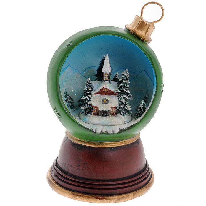 Новогодний музыкальный сувенир Елочный шарик. Ф21-221120456Новогодний сувенир Елочный шарик, изготовленный из полирезины и украшенный блестками, выполнен в виде шарика, внутри оформленного новогодней композицией. На дне сувенира расположен ключ для завода музыкального механизма. Поверните ключ, и сувенир начнет воспроизводить приятную новогоднюю мелодию. Новогодние украшения всегда несут в себе волшебство и красоту праздника. Создайте в своем доме атмосферу тепла, веселья и радости, украшая его всей семьей. Характеристики:Материал: полирезина, металл. Общая высота сувенира: 16 см. Диаметр шарика: 10 см. Размер упаковки: 13,5 см х 13,5 см х 21 см. Изготовитель: Китай. Артикул: Ф21-2211.