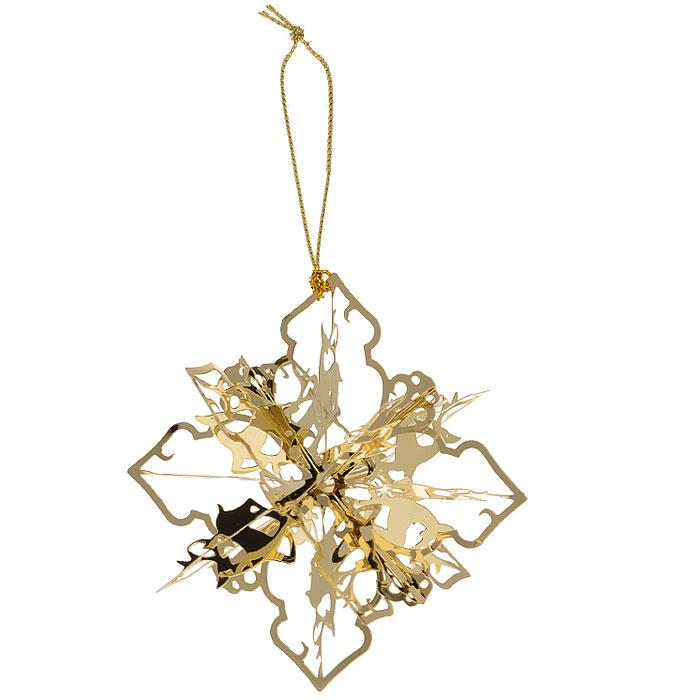 Новогоднее подвесное украшение Снежинка, цвет: золотистый. 25105RSP-202SНовогоднее подвесное украшение Снежинка, выполненное из золотистого металла, украсит интерьер вашего дома или офиса в преддверии Нового года. Оригинальный дизайн и красочное исполнение создадут праздничное настроение. Новогодние украшения всегда несут в себе волшебство и красоту праздника. Создайте в своем доме атмосферу тепла, веселья и радости, украшая его всей семьей. Характеристики:Материал:металл. Размер украшения:5 см х 5 см х 5 см. Размер упаковки:6 см х 6 см х 6 см. Изготовитель:Китай. Артикул:25105.