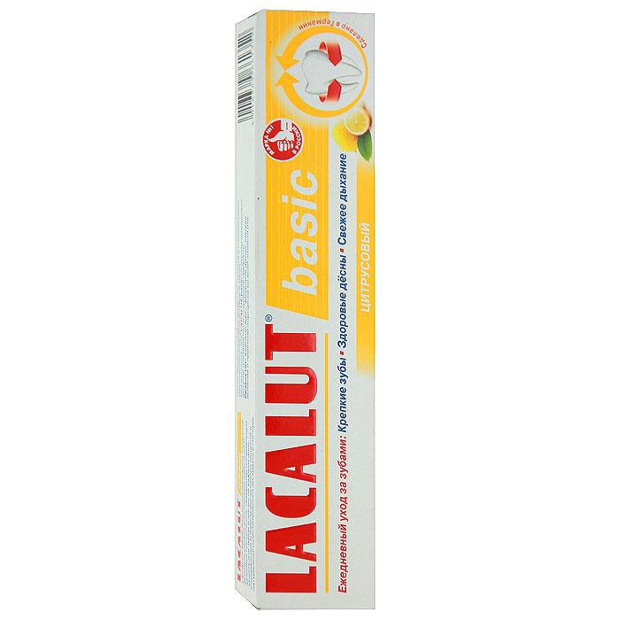 Lacalut Зубная паста Basic, цитрусовый вкус, 75 млЭО-112Зубная паста Lacalut Basic - профилактическая зубная паста для ежедневной гигиены полости рта. Содержит экстракт куркумы и лактат алюминия, обладающие вяжущим и кровоостанавливающим эффектом. Защищает десны от кровоточивости и воспаления. Убивает бактерии - причину кариеса и неприятный запах.Характеристики:Объем: 75 мл. Производитель: Германия. Артикул:15980083. Товар сертифицирован.