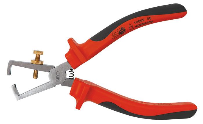 Клещи для снятия изоляции Neo, 0,5-5 мм, до 1000 В01-059Клещи для снятия изоляции Neo предназначены для очищения от изоляции проводов из меди и алюминия. Имеют двухкомпанентные эргономичные ручки. Возможна работа с проводами под напряжением до 1000 вольт. Характеристики: Материал: хром ванадий, резина. Размеры клещей: 17 см х 6 см х 3 см. Размеры упаковки: 23 см х 8,5 см х 3 см.