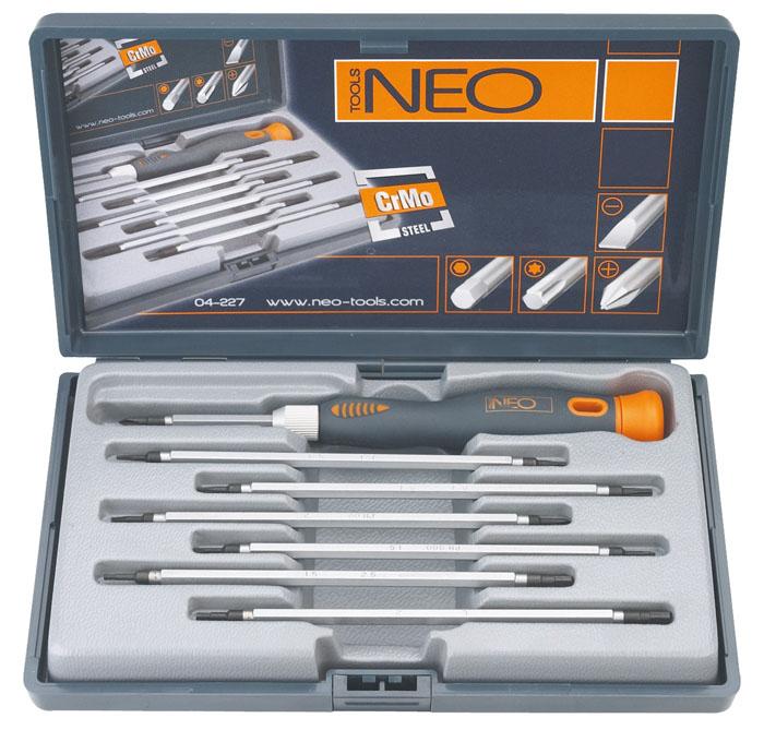 Набор двусторонних отверток Neo, 7шт54 009318Набор двусторонних отверток Neo предназначен для монтажа/демонтажа резьбовых соединений. В набор входит:Держатель.3 шлицевых отвертки 1,5 мм, 2 мм, 3 мм.3 крестовых отвертки РН000, РН00, РН0.6 шестигранных отверток Т5, Т6, Т7, Т8.4 шестиугольных отвертки 1,5 мм, 2 мм, 2,5 мм, 3 мм.Пенал для хранения. Характеристики: Материал: пластик, хром-молибден. Длина ручки: 11 см. Длина отвертки: 12 см. Размеры упаковки: 27 см х 23 см х 4 см.