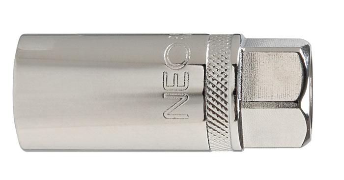 Головка торцевая Neo, свечная с магнитом, 1/2, 16 мм08-566Головка торцевая Neo применяется для монтажа/демлнтажа резьбовых соединений. Станет отличным помощником монтажнику или владельцу авто. Этот инструмент обеспечит надежную фиксацию на гранях крепежа. Характеристики: Материал: хром-ванадий. Диаметр головки: 16 мм. Размер переходника: 1/2. Размер упаковки:13 см х 4,5 см х 2 см.