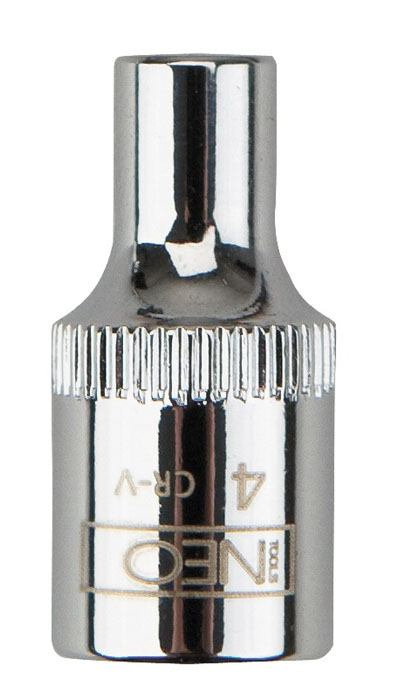 Головка торцевая Neo 1/4, 4 мм2706 (ПО)Головка торцевая Neo применяется для монтажа/демлнтажа резьбовых соединений. Станет отличным помощником монтажнику или владельцу авто. Этот инструмент обеспечит надежную фиксацию на гранях крепежа. Характеристики: Материал: хром-ванадий. Диаметр головки: 4 мм. Размер переходника: 1/4. Размер упаковки:8,5 см х 4,5 см х 1 см.