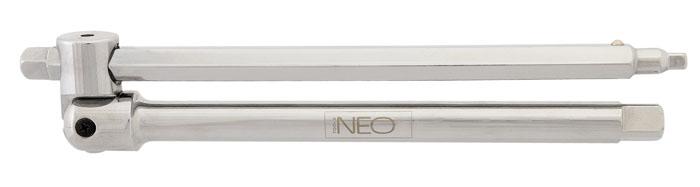 Вороток Neo, универсальный08-566Вороток Neo предназначен для закрепления в нем торцевых головок. Характеристики: Материал: хром-ванадий. Длина воротка: 25 см. Размер переходника: 1/2, 1/4, 3/8. Размер упаковки:33 см х 9 см х 3 см.