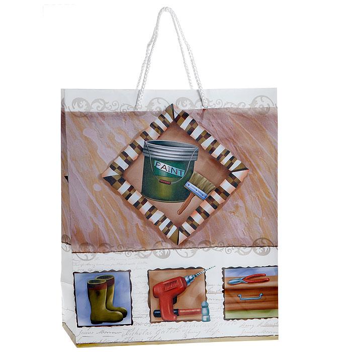 Пакет подарочный Paint, 26 см х 33 см х 14 см. 27534318272Бумажный подарочный пакет Paint, оформленный изображением банки с краской и кисти, станет незаменимым дополнением к выбранному подарку. Пакет выполнен из плотной бумаги с глянцевой ламинацией. Для удобной переноски на пакете имеются две ручки из шнурков. Подарок, преподнесенный в оригинальной упаковке, всегда будет самым эффектным и запоминающимся. Окружите близких людей вниманием и заботой, вручив презент в нарядном, праздничном оформлении. Характеристики:Материал: бумага, текстиль. Размер: 26 см х 33 см х 14 см. Изготовитель: Китай. Артикул: 27534.