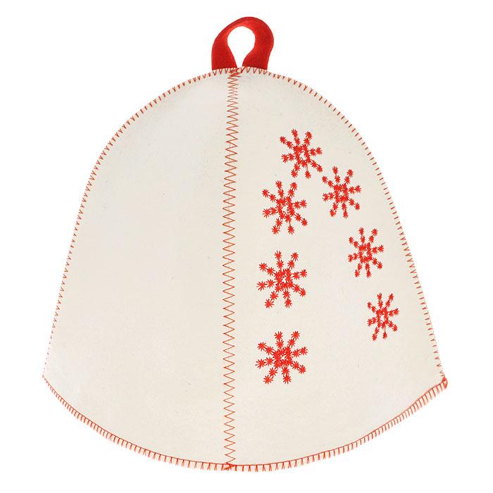Шапка для бани и сауны Снежинки, фетр, цвет: белыйNLED-410-1W-YШапка для бани и сауны Снежинки, изготовленная из фетра белого цвета, это незаменимый аксессуар для любителей попариться в русской бане и для тех, кто предпочитает сухой жар финской бани. Банная шапка, украшенная вышивкой в виде снежинок - ощущение зимних праздников северных стран!Шапка защитит вас от появления головокружения в бане, ваши волосы от сухости и ломкости, а голову от перегрева.Такая шапка станет отличным подарком для любителей отдыха в бане или сауне. Характеристики: Материал: фетр (шерсть). Цвет: белый. Диаметр основания шапки: 36 см. Высота шапки: 25 см. Производитель: Россия. Артикул: А2812.