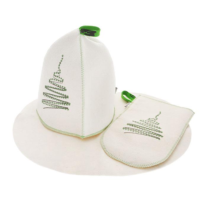 Подарочный набор для бани и сауны Елочка, фетр, цвет: белый, 3 предмета00007575Подарочный набор для бани и сауны Елочка, выполненный из фетра белого цвета, незаменим для любителей попариться в русской бане и для тех, кто предпочитает сухой жар финской бани. В набор входят все необходимые аксессуары, для того чтобы банный поход принес вам только радость. Набор состоит из коврика, шапки и рукавицы. Шапка и рукавица оформлены стильной и оригинальной вышивкой в виде елочки.Шапка - незаменимая вещь в парной. Она необходима для того, чтобы не перегреть голову, также она должна хорошо впитывать влагу. Коврик убережет вас от горячей полки, защитит вас в общественной бане, а рукавица обезопасит ваши руки от горячего пара или ручки ковша и поможет прекрасно помассировать тело. Характеристики:Материал: фетр (шерсть). Диаметр основания шапки: 36 см. Высота шапки: 25 см. Размер коврика: 44 см х 33 см. Размер рукавицы: 27,5 см х 16,5 см. Производитель: Россия. Артикул: А283.