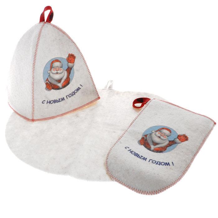 Подарочный набор для бани и сауны Дед Мороз, войлок, цвет: белый, 3 предметаK100Подарочный набор для бани и сауны Дед Мороз, выполненный из войлока белого цвета, незаменим для любителей попариться в русской бане и для тех, кто предпочитает сухой жар финской бани. В набор входят все необходимые аксессуары, для того чтобы банный поход принес вам только радость. Набор состоит из коврика, шапки и рукавицы. Шапка и рукавица оформлены красочным принтом в виде Деда Мороза и надписью С Новым Годом!. Принт выполнен специальными стойкими красителями. Шапка - незаменимая вещь в парной. Она необходима для того, чтобы не перегреть голову, также она должна хорошо впитывать влагу. Коврик убережет вас от горячей полки, защитит вас в общественной бане, а рукавица обезопасит ваши руки от горячего пара или ручки ковша и поможет прекрасно помассировать тело. Характеристики:Материал: войлок (шерсть, ПЭФ). Диаметр основания шапки: 36 см. Высота шапки: 25 см. Размер рукавицы: 27 см х 16 см. Размер коврика: 44 см х 33 см. Производитель: Россия. Артикул: А263.
