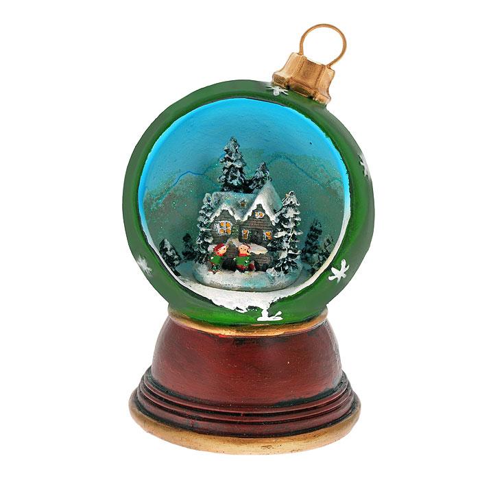 Новогодний музыкальный сувенир Елочный шарик. Ф21-2212K100Новогодний сувенир Елочный шарик, изготовленный из полирезины и украшенный блестками, выполнен в виде шарика, внутри оформленного новогодней композицией. На дне сувенира расположен ключ для завода музыкального механизма. Поверните ключ, и сувенир начнет воспроизводить приятную новогоднюю мелодию. Новогодние украшения всегда несут в себе волшебство и красоту праздника. Создайте в своем доме атмосферу тепла, веселья и радости, украшая его всей семьей. Характеристики:Материал: полирезина, металл. Общая высота сувенира: 16 см. Диаметр шарика: 10 см. Размер упаковки: 13,5 см х 13,5 см х 21 см. Изготовитель: Китай. Артикул: Ф21-2212.