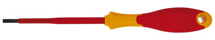 Отвертка плоская Topex, 2,5 x 75 мм, до 1000 В25-043Отвертка плоская Торех предназначена для монтажа/демонтажа резьбовых соединений. Изделие изготовлено из инструментальной стали и оснащены удобной эргономичной рукояткой. Выдерживает напряжение до 1000 Вольт. Характеристики: Материал: пластик, резина, хром-ванадий. Длина отвертки: 7,5 см. Длина ручки: 10 см. Ширина жала: 2,5 мм. Размеры упаковки: 17,5 см х 2,5 см х 2,5 см.