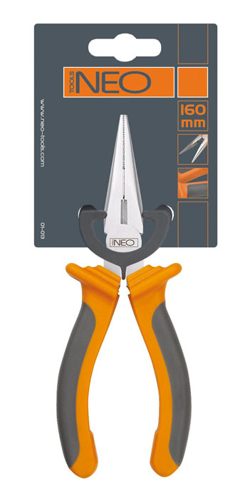 Плоскогубцы Neo, удлиненные, прямые, 200 мм2706 (ПО)Плоскогубцы Neo изготовлены из хром ванадиевой стали. Они предназначены для захвата, зажима и удержания мелких деталей. Имеют эргономичные ручки. Характеристики: Материал:хром-ванадиевая сталь, резина. Общая длина:21 см. Размер плоскогубцев: 21 см х 6,5 см х 3 см. Размер упаковки: 22 см х 8,5 см х 3 см.