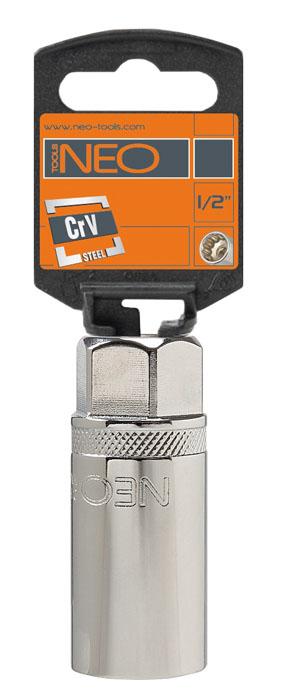 Головка торцевая Neo, свечная с магнитом, 1/2, 21 мм774007Головка торцевая Neo применяется для монтажа/демлнтажа резьбовых соединений. Станет отличным помощником монтажнику или владельцу авто. Этот инструмент обеспечит надежную фиксацию на гранях крепежа. Характеристики: Материал: хром-ванадий. Диаметр головки: 21 мм. Размер переходника: 1/2. Размер упаковки:13 см х 4,5 см х 2,5 см.