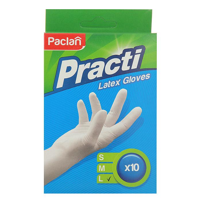 """Перчатки хозяйственные """"Paclan"""", латексные, с тальком, 10 шт. Размер L"""