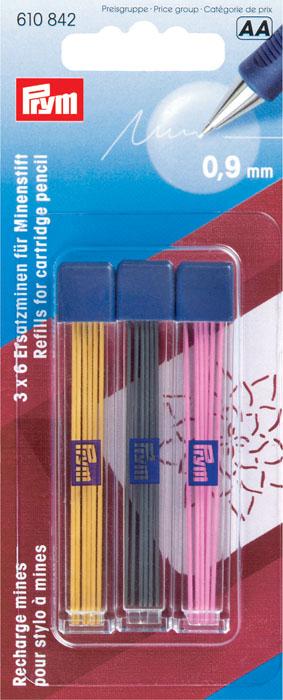 Набор запасных грифелей Prym, для механического карандаша, цвет: черный, желтый, розовый, 18 шт72523WDЗапасные графиты желтого, черного и розового цветов предназначены для механического карандаша. Грифель идеален для тонкой маркировки и работ с шаблонами. Следы от грифеля во время стирки полностью исчезают. Перед началом работы попробуйте на ненужном лоскуте ткани действие карандаша и способы удаления его следов. Характеристики: Цвет: черный, желтый, розовый. Диаметр грифеля: 0,09 см. Длина грифеля: 6 см. Комплектация: 18 шт. Размер упаковки: 5,5 см х 14 см х 1 см. Артикул: 610842.
