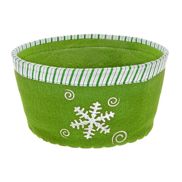 Сухарница House & Holder, цвет: зеленый. 117003VT-1520(SR)Оригинальная сухарница House & Holder Снежинка, выполненная из фетра, декорирована отстрочкой и текстильной окантовкой по краю, а также рисунком снежинки. Сухарница станет необычным дополнением к праздничному столу, послужит приятным и полезным сувениром для близких и родных.