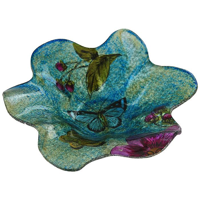 Блюдо Цветок, цвет: синий, фиолетовый. LIL 1280-32VT-1520(SR)Блюдо, изготовленное из стекла, оформлено в форме цветка и декорировано синими и золотистыми блестками. Такое блюдо станет достойным украшением вашего интерьера и придаст ему нотки необычности и изысканности.Оригинальное блюдо украсит сервировку вашего стола и подчеркнет прекрасный вкус хозяйки, а также станет отличным подарком. Характеристики:Материал: стекло. Размер блюда:19 см х 4 см. Размер упаковки: 20,5 см х 19 см х 6,5 см. Артикул:LIL 1280-32.