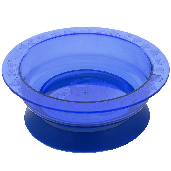 """Пластиковая тарелочка """"Курносики"""" синего цвета с удобной присоской, идеально подойдет для кормления малыша, и самостоятельного приема им пищи. Специальное резиновое кольцо-присоска фиксирует тарелочку на столе, благодаря чему она не упадет, еда не прольется, а ваш малыш будет доволен."""