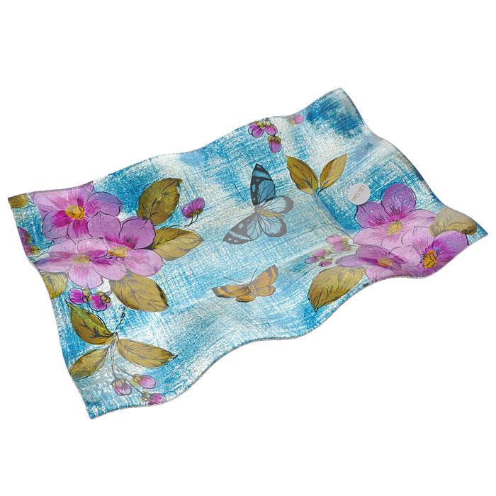 Блюдо Lillo Glass, цвет: синий, розовый, 39 см х 26 см х 4,5 см. LIL 1280-14VT-1520(SR)Яркое блюдо Lillo Glass, изготовленное из стекла с рельефными краями, декорировано изображением бабочек, розовых цветов, синими и золотистыми блестками. Такое блюдо сочетает в себе изысканный дизайн с максимальной функциональностью. Блюдо Lillo Glass украсит сервировку вашего стола и подчеркнет прекрасный вкус хозяина, а также станет отличным подарком. Характеристики:Материал: стекло. Цвет: синий, розовый. Размер блюда:39 см х 26 см х 4,5 см. Размер упаковки: 42 см х 27 см х 6 см. Артикул: LIL 1280-14.