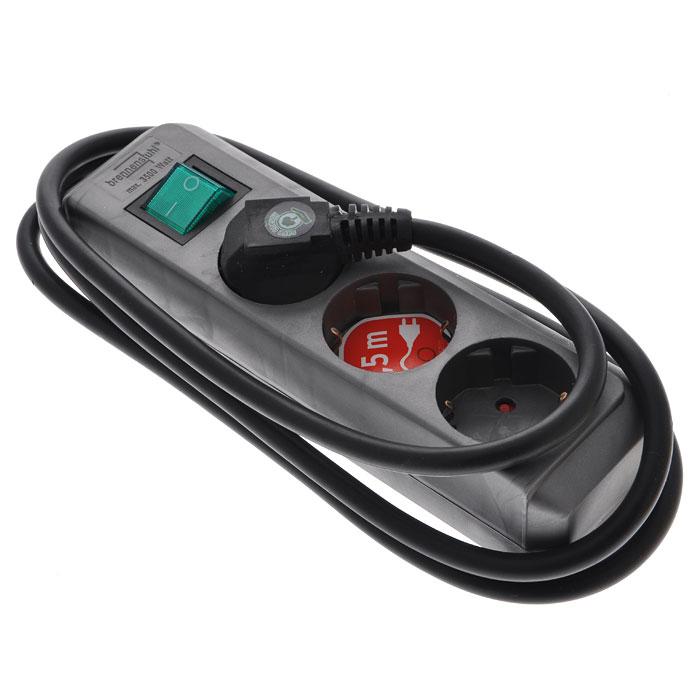 Удлинитель Eco-Line с выключателем, универсальный, 3 гнезда, 1,5 м, цвет: металикYKsm3m-4g-Z-V(K)Универсальный удлинитель Eco-Line с выключателем и стандартным расширительным гнездом. Удобно расположенные розетки позволяют подключать угловые вилки. Так же предусмотрена защита от детей.