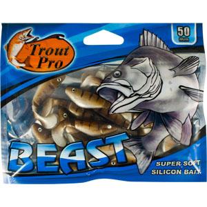 Риппер Trout Pro Beast, длина 5 см, 20 шт. 351566-02-0085Риппер предназначен для джиговой ловли хищной рыбы: окуня, судака, щуки. Специальная пластина на тонком основании делает приманку более гибкой и подвижной, что придает ей усиленные колебательные движения. Характеристики:Длина: 5 см. Цвет тела: 144 (светло-коричневый с темными полосками). Материал: эластичный полимер. Размер упаковки: 15,4 см х 12 см х 0,6 см. Артикул: 35156.