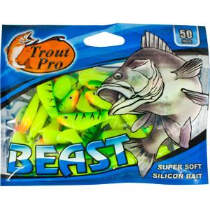 Риппер Trout Pro Beast, длина 5 см, 20 шт. 3515735413Риппер предназначен для джиговой ловли хищной рыбы: окуня, судака, щуки. Специальная пластина на тонком основании делает приманку более гибкой и подвижной, что придает ей усиленные колебательные движения. Характеристики:Длина: 5 см. Цвет тела: 147 (зеленый, желтый). Материал: эластичный полимер. Размер упаковки: 15,4 см х 12 см х 0,6 см. Артикул: 35157.