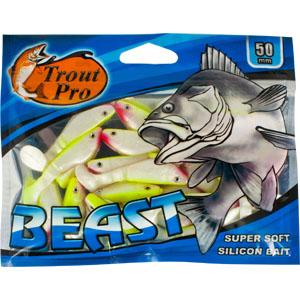 Риппер Trout Pro Beast, длина 5 см, 20 шт. 3517135481Риппер предназначен для джиговой ловли хищной рыбы: окуня, судака, щуки. Специальная пластина на тонком основании делает приманку более гибкой и подвижной, что придает ей усиленные колебательные движения. Характеристики:Длина: 5 см. Цвет тела: 146 (перламутровый с лимонным). Материал: эластичный полимер. Размер упаковки: 15,4 см х 12 см х 0,6 см. Артикул: 35171.