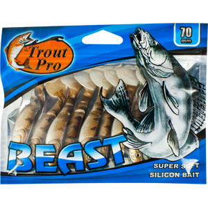 Риппер Trout Pro Beast, длина 7 см, 10 шт. 35177PGPS7797CIS08GBNVРиппер предназначен для джиговой ловли хищной рыбы: окуня, судака, щуки. Специальная пластина на тонком основании делает приманку более гибкой и подвижной, что придает ей усиленные колебательные движения. Характеристики:Длина: 7 см. Цвет тела: 144 (светло-коричневый с темными полосками). Материал: эластичный полимер. Размер упаковки: 15,4 см х 12 см х 0,8 см. Артикул: 35177.