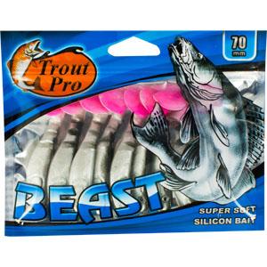 Риппер Trout Pro Beast, длина 7 см, 10 шт. 3519535189Риппер предназначен для джиговой ловли хищной рыбы: окуня, судака, щуки. Специальная пластина на тонком основании делает приманку более гибкой и подвижной, что придает ей усиленные колебательные движения. Характеристики:Длина: 7 см. Цвет тела: 155 (перламутровый с черной спиной и красным хвостиком). Материал: эластичный полимер. Размер упаковки: 15,4 см х 12 см х 0,8 см. Артикул: 35195.