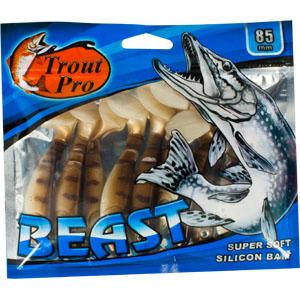 Риппер Trout Pro Beast, длина 8,5 см, 10 шт. 3519935197Риппер предназначен для джиговой ловли хищной рыбы: окуня, судака, щуки. Специальная пластина на тонком основании делает приманку более гибкой и подвижной, что придает ей усиленные колебательные движения. Характеристики:Длина: 8,5 см. Цвет тела: 144 (светло-коричневый с темными полосками). Материал: эластичный полимер. Размер упаковки: 16,8 см х 14,4 см х 0,9 см. Артикул: 35199.