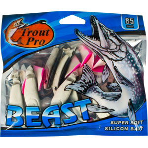 Риппер Trout Pro Beast, длина 8,5 см, 10 шт. 3520735197Риппер предназначен для джиговой ловли хищной рыбы: окуня, судака, щуки. Специальная пластина на тонком основании делает приманку более гибкой и подвижной, что придает ей усиленные колебательные движения. Характеристики:Длина: 8,5 см. Цвет тела: 151 (белый с черной спиной и красным хвостиком). Материал: эластичный полимер. Размер упаковки: 16,8 см х 14,4 см х 0,9 см. Артикул: 35207.