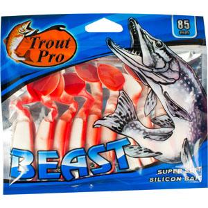 Риппер Trout Pro Beast, длина 8,5 см, 10 шт. 3521435209Риппер предназначен для джиговой ловли хищной рыбы: окуня, судака, щуки. Специальная пластина на тонком основании делает приманку более гибкой и подвижной, что придает ей усиленные колебательные движения. Характеристики:Длина: 8,5 см. Цвет тела: 149 (белый с красной спиной). Материал: эластичный полимер. Размер упаковки: 16,8 см х 14,4 см х 0,9 см. Артикул: 35214.