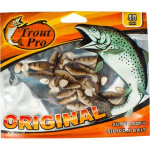 Риппер Trout Pro Original, длина 4 см, 20 шт. 3521922763Приманка предназначена для джиговой ловли хищной рыбы: окуня, судака, щуки. Специальная пластина придает приманке колебательные движения, усиливая ее сходство с живой рыбкой. Характеристики:Длина: 4 см. Цвет тела: 144 (светло-коричневый с темными полосками). Материал: эластичный полимер. Размер упаковки: 16,8 см х 14 см х 0,4 см. Производитель: Китай. Артикул: 35219.