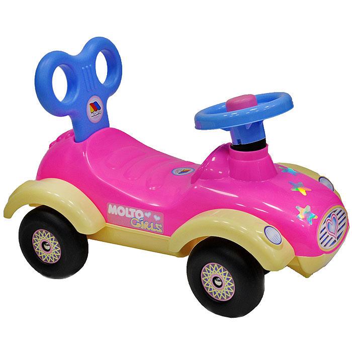 """Детский автомобиль-каталка """"Сабрина"""", выполненный в ярких тонах, станет любимым средством передвижения вашей малышки. Автомобиль выполнен из прочного пластика желтого, розового и голубого цветов, имеет руль с клаксоном и удобное сиденье с оригинальной спинкой, а оси колес выполнены из металла, что гарантирует его прочность и долговечность. Автомобиль украшен яркими и блестящими наклейками, что непременно понравится вашей малышке. С такой машиной не только прогулки, но и игры вашего ребенка станут веселее и увлекательнее. Порадуйте его таким замечательным подарком!"""