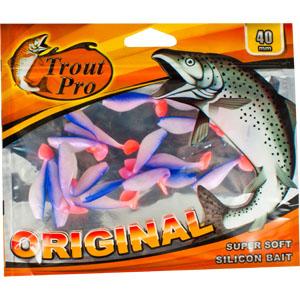 Риппер Trout Pro Original, длина 4 см, 20 шт. 3523035228Приманка предназначена для джиговой ловли хищной рыбы: окуня, судака, щуки. Специальная пластина придает приманке колебательные движения, усиливая ее сходство с живой рыбкой. Характеристики:Длина: 4 см. Цвет тела: 166 (перламутровый с синей спиной и красным хвостиком). Материал: эластичный полимер. Размер упаковки: 16,8 см х 14 см х 0,4 см. Производитель: Китай. Артикул: 35230.