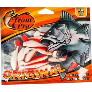 Риппер Trout Pro Original, длина 5,5 см, 20 шт. 3526028877Приманка предназначена для джиговой ловли хищной рыбы: окуня, судака, щуки. Специальная пластина придает приманке колебательные движения, усиливая ее сходство с живой рыбкой. Характеристики:Длина: 5,5 см. Цвет тела:149 (белый с красной спиной). Материал: эластичный полимер. Размер упаковки: 16,5 см х 14 см х 0,5 см. Производитель: Китай. Артикул: 35260.