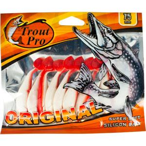 Риппер Trout Pro Original, длина 7,5 см, 10 шт. 3528728913Приманка предназначена для джиговой ловли хищной рыбы: окуня, судака, щуки. Специальная пластина придает приманке колебательные движения, усиливая ее сходство с живой рыбкой. Характеристики:Длина: 7,5 см. Цвет тела: 149 (белый с красной спиной). Материал: эластичный полимер. Размер упаковки: 16,8 см х 14 см х 0,7 см. Производитель: Китай. Артикул: 35287.