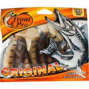 Риппер Trout Pro Original, длина 10 см, 10 шт. 3529428865Приманка предназначена для джиговой ловли хищной рыбы: окуня, судака, щуки. Специальная пластина придает приманке колебательные движения, усиливая ее сходство с живой рыбкой. Характеристики:Длина: 10 см. Цвет тела:144 (светло-коричневый с темными полосками). Материал: эластичный полимер. Размер упаковки: 16,8 см х 14,2 см х 0,9 см. Производитель: Китай. Артикул: 35294.
