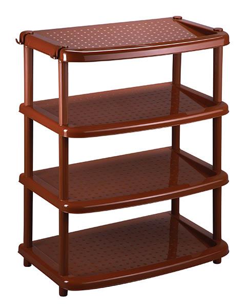Этажерка для обуви Паола, цвет: коричневый, 4 полкиБрелок для ключейЭтажерка Паола с 4 полками выполнена из пластика коричневого цвета. Очень удобная и компактная, но в тоже время вместительная, она прекрасно впишется в пространство любого помещения. Этажерка придется особенно, кстати, если у вас небольшая прихожая: она займет минимум пространства. Легко собирается и разбирается. Характеристики:Материал: пластик. Цвет: коричневый. Размер этажерки (ДхШхВ): 31 см х 49 см х 67 см. Размер упаковки: 49 см х 13 см х 31 см. Артикул: C12400.
