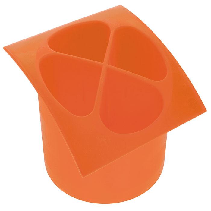 Подставка для столовых приборов Cosmoplast, цвет: оранжевый, диаметр 14 см емкость для чистки столовых приборов
