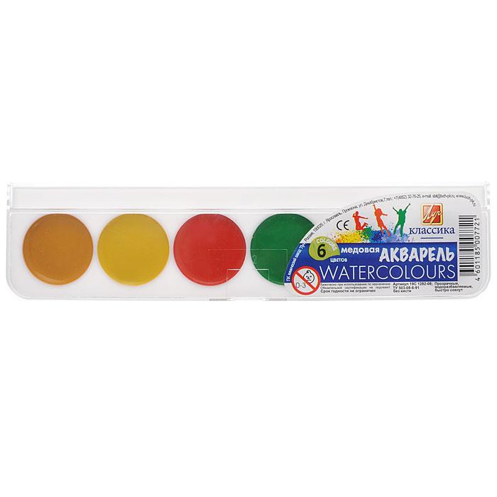 Акварель медовая Классика, 6 цветовFS-00897Акварельные медовые полусухие краски Классика изготовлены на основе органических пигментов и натурального связующего с добавлением пчелиного меда, находятся в пластмассовой упаковке с прозрачной крышкой. Акварель предназначена для детского творчества и различных живописных работ. Акварель Классика отличает прозрачность красок, яркость и чистота цвета, отличная разносимость и размываемость.Характеристики:Диаметр краски: 2,7 см. Размер упаковки: 19 см x 4,5 см x 1 см.