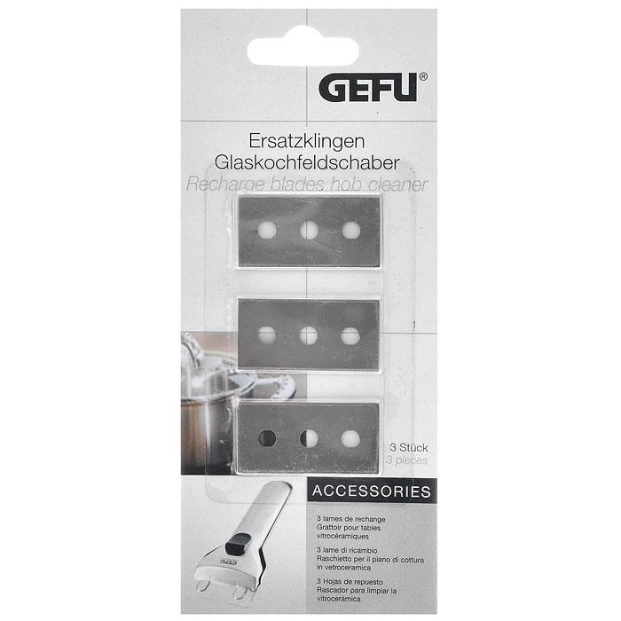 Запасные лезвия для скребка Gefu, 3 штCLP446Запасные лезвия для скребка Gefu выполнены из нержавеющей стали. Используются для бережного и деликатного ухода за кухонными стеклокерамическими плитами, стеклянными поверхностями, кафелем. Эффективно и быстро удаляет устойчивые, затвердевшие загрязнения, остатки пригоревшей пищи, не царапая и не повреждая обрабатываемые поверхности. Характеристики:Материал: нержавеющая сталь. Размеры лезвия: 4,3 см х 2,2 см х 0,1 см. Комплектация: 3 шт. Артикул: 12455.