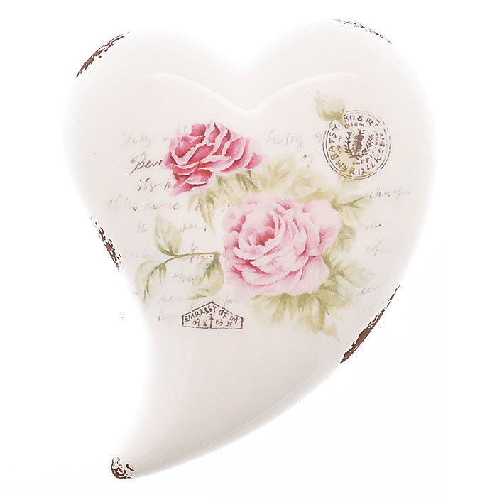 Декоративная фигурка Сердце. 2726927269Декоративная фигурка, выполненная из керамики в форме сердца, станет отличным дополнением к интерьеру. Фигурка оформлена изображением роз, надписями и декоративными потертостями. Вы можете поставить фигурку в любом месте, где она будет удачно смотреться и радовать глаз. Кроме того, сердце станет чудесным сувениром для ваших друзей и близких. Характеристики:Материал:керамика. Размер фигурки: 12 см х 16 см х 4,5 см. Артикул: 27269.