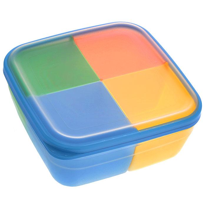 Контейнер-менажница для СВЧ Полимербыт, с крышкой, цвет: прозрачный, голубой, оранжевый, 2,2 лАксион Т-33Контейнер-менажница для СВЧ Полимербыт изготовлен из высококачественного прочного пластика, устойчивого к высоким температурам (до +120°С). Крышка плотно закрывается, дольше сохраняя продукты свежими и вкусными. Контейнер снабжен 4 цветными съемными секциями, которые позволяют хранить сразу несколько продуктов или блюд. Он идеально подходит для хранения пищи, его удобно брать с собой на работу, учебу, пикник или просто использовать для хранения пищи в холодильнике.Можно использовать в микроволновой печи и для заморозки в морозильной камере. Можно мыть в посудомоечной машине. Размер секции: 9 х 9 х 7 см.