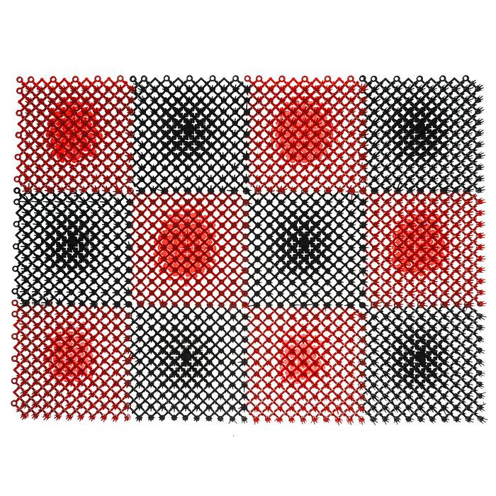 Коврик Травка, цвет: черный, красный, 42 см х 56 смU210DFКоврик Травка выполнен из полиэтилена и состоит из 12 секций. Коврик предназначен для защиты помещений от уличной грязи. При этом сам коврик всегда сохраняет эстетичный и опрятный вид, сколько бы пыли и грязи на нем не было.