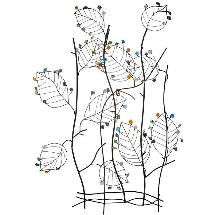 Декоративное настенное украшение ЛистьяTHN132NДекоративное настенное украшение Листья, выполненное из черного окрашенного металла и полирезины, позволит вам украсить интерьер дома, рабочего кабинета или любого другого помещения оригинальным образом. Украшение выполнено в виде куста с листочками и с разноцветными камнями. С таким украшением вы сможете внести в интерьер своего дома элемент необычности. Характеристики:Материал: металл, полирезин. Размер: 66 см x 8 см x 91,5 см. Размер упаковки:70 см х 10 см х 98 см. Артикул: 19161.