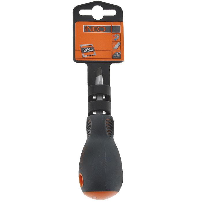 Отвертка плоская Neo, 6,5 x 38 мм2706 (ПО)Отвертка плоская Neo предназначена для монтажа/демонтажа резьбовых соединений. Характеристики: Материал: пластик, резина, хромомолибден. Длина отвертки: 3,8 см. Длина ручки: 6,5 см. Ширина жала: 6,5 мм. Размеры упаковки: 16 см х 4 см х 3 см.