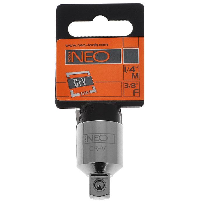 Переходник Neo с 3/8 на 1/42706 (ПО)Переходник Neo предназначен для установки на трещотку более меньших/больших головок по размеру. Характеристики: Материал: хром-ванадий. Длина переходника: 2,5 см. Размер переходника:с 3/8 на 1/4. Размер упаковки:8,5 см х 4,5 см х 1,5 см.