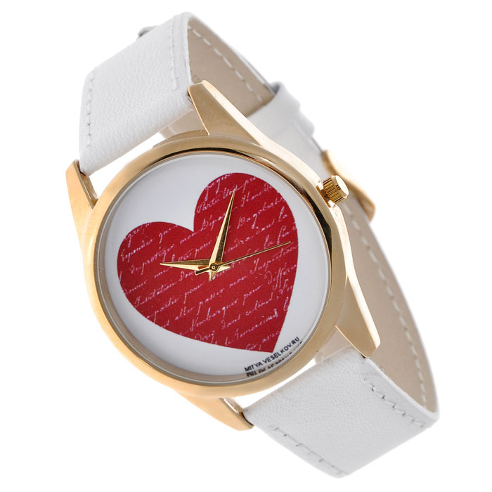Часы Mitya Veselkov Сердце. Shine-16BM8434-58AEНаручные часы Mitya Veselkov Сердце созданы для современных людей, которые стремятся выделиться из толпы и подчеркнуть свою индивидуальность. Часы оснащены японским кварцевым механизмом. Ремешок выполнен из натуральной кожи белого цвета, корпус изготовлен из стали золотистого цвета. Циферблат оформлен изображением красного сердца. Часы размещаются на специальной подушечке и упакованы в фирменный стакан Mitya Veselkov. Характеристики: Материал: натуральная кожа, сталь, сплав металлов. Стекло: минеральное. Механизм: Citizen. Длина ремешка (с корпусом): 23,5 см. Ширина ремешка: 2 см. Диаметр корпуса: 3,8 см. Диаметр циферблата: 3,5 см. Размер упаковки: 8 см х 8 см х 10 см. Артикул: Shine-16. Производитель: Россия. Идея компании Mitya Veselkov возникла совершенно случайно. Просто один творческий человек и талантливый организатор решил делать людям необычные часы. Затем родилась идея открыть магазин и дать другим людям возможность приобретения этого красивого продукта. Теперь Mitya Veselkov - перспективный коммерческий проект, создающий не только часы, но и сумки, подушки, футболки и даже запонки. Часы, вещи и сувениры от Mitya Veselkov - это вещи с изюминкой, которые ценны своим оригинальным дизайном.